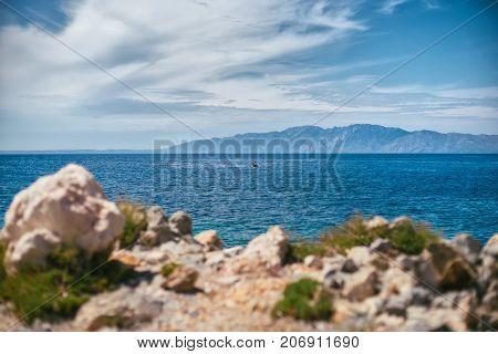 A beautiful seascape off the coast of the ancient city of Knid. Turkey. Idyllic seascape.