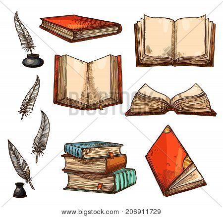 Old books and ancient manuscripts sketch icons. Vector set of vintage book, antique paper rolls and ink pencil quill or feather pen in inkwell for bookshop writing stationery or literature design