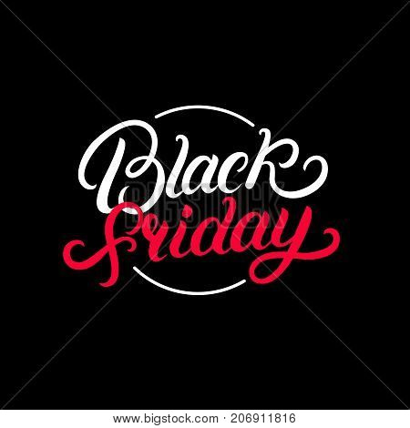Black Friday hand written lettering text. Inscription design template. Isolated on background. Vector illustration.