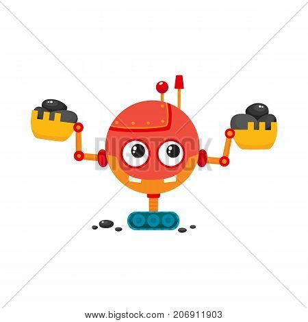 vector flat cartoon funny friendly robot. Humanoid boy character with crawler tracks, ladle arms, antenna on head smiling. Isolated illustration on a white background. Childish futuristic android.