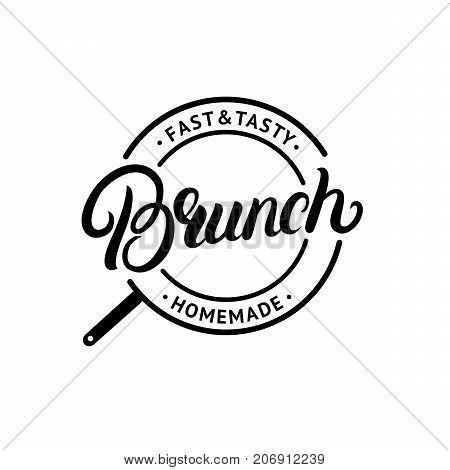 Brunch hand written lettering logo, label, emblem, sign. Vintage style. Isolated on background. Vector illustration
