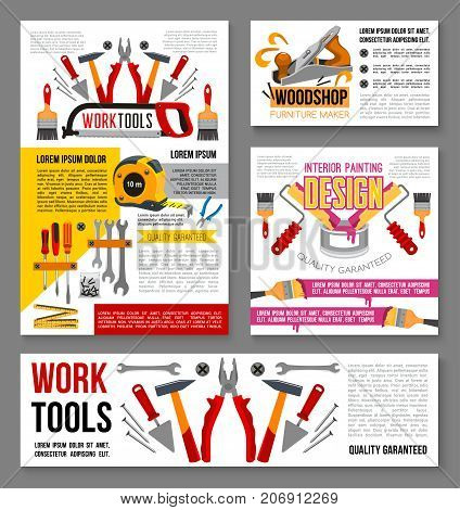 Work tools posters and banners for home renovation shop, carpentry service and woodwork. Vector set of house repair screwdriver, grinder or saw and painting paintbrush toolbox or plastering trowel