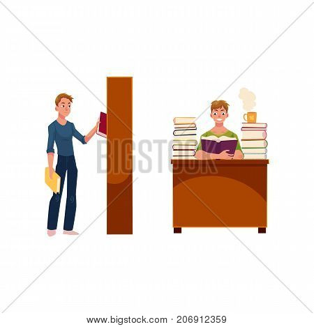 Young man in library, picking a book from bookcase and reading at table, cartoon vector illustration isolated on white background. Young man, student choosing a book from bookstand, reading at table
