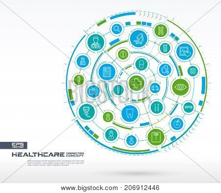 Abstract healthcare, medicine background. Digital connect system with integrated circles, glowing thin line icons. Network system group, interface concept. Vector future infographic illustration