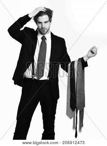 Bearded Macho Stylish Man In Elegant Suit With Ties