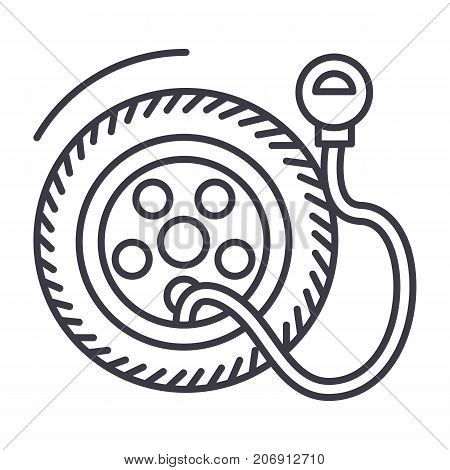 tire service, pump, tire pressure vector line icon, sign, illustration on white background, editable strokes