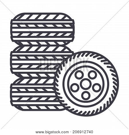 tires, tire service vector line icon, sign, illustration on white background, editable strokes