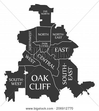Dallas Texas City Map Usa Labelled Black Illustration