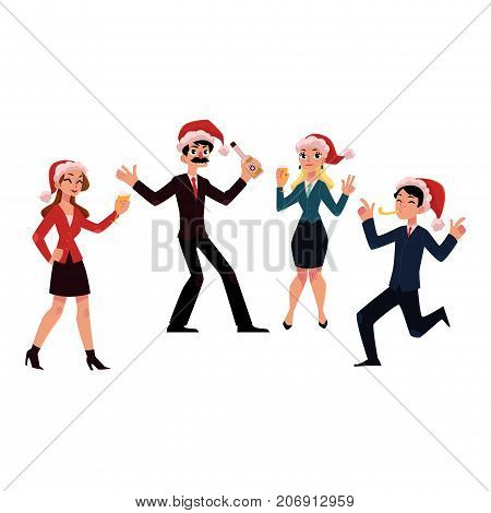 Set of happy people in Santa Claus hats celebrating Christmas, corporate Xmas party, cartoon vector illustration isolated on white background. People in Santa Claus hats having fun at Christmas party