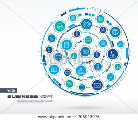Abstract business strategy background. Digital connect system with integrated circles, glowing thin line icons. Network system group, interface concept. Vector future infographic illustration