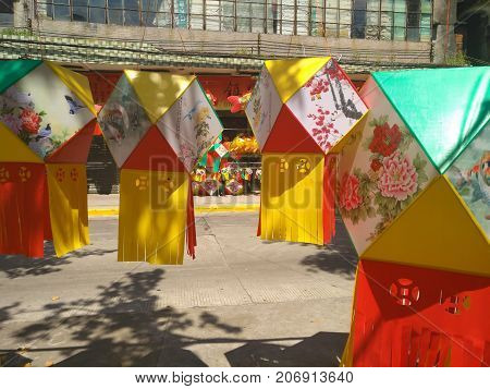 ZHONGSHAN GUANGDONG CHINA - SEP 29 2017: store sells different lanterns for Chinese Mid Autumn Festival in Zhongshan Guangdong China. OCT 4 is the Mid Autumn Festival for 2017.