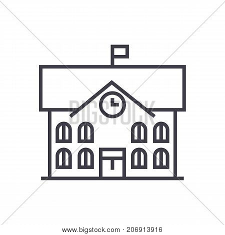 town hall, city hall vector line icon, sign, illustration on white background, editable strokes