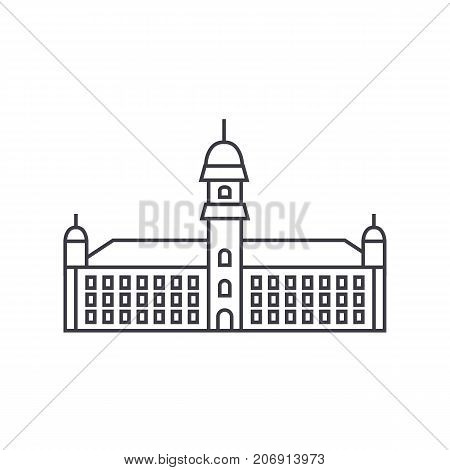 townhall vector line icon, sign, illustration on white background, editable strokes