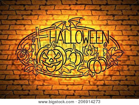 Happy Halloween Greeting Card Template. Black Lamps Glow Stylization on Yellow Brick Wall. Singboard with Pumpkins Bat Cross and Spider Symbols. Beautiful Holiday Flyer. Vector 3d Illustration.
