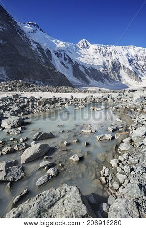 Akkem ruver near foothill of Beluha mountain. Altai. Russia