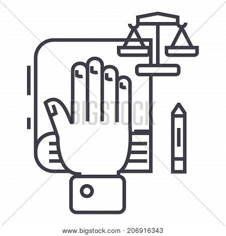 truth concept, hand on book, bibile, small scales vector line icon, sign, illustration on white background, editable strokes