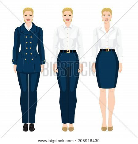 Vector illustration of woman in formal blue skirt, white blouse and shoes on hight heel on white background.