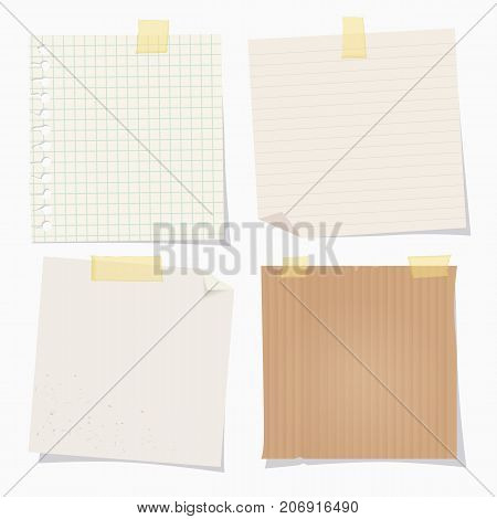 Vector vintage note papers with adhesive tape on white background.