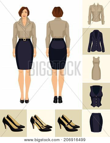 Vector illustration of woman in formal blue skirt, beige blouse and shoes on high heel on white background. Various turns woman's figure. Front view and back view. Formal clothes and shoes
