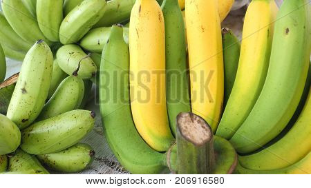 Thai Cavendish banana and Pisang Awak on sale at street shop Macro crop and zoom in photo full frame.