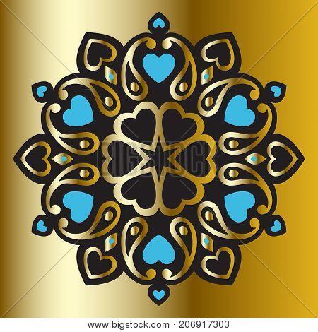 Ornament Mandala on black background. Ethnic vintage pattern. Geometric circle element, Hand drawn Vector illustration.