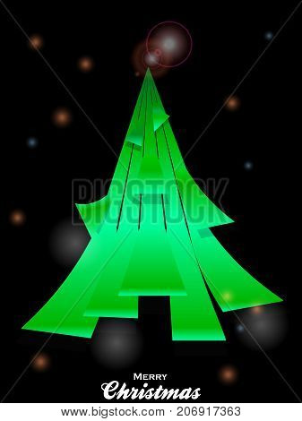 3D Illustration of Abstract Green Christmas Tree Made of Curved Stripes Over Black Glowing Festive Background with Decorative Text