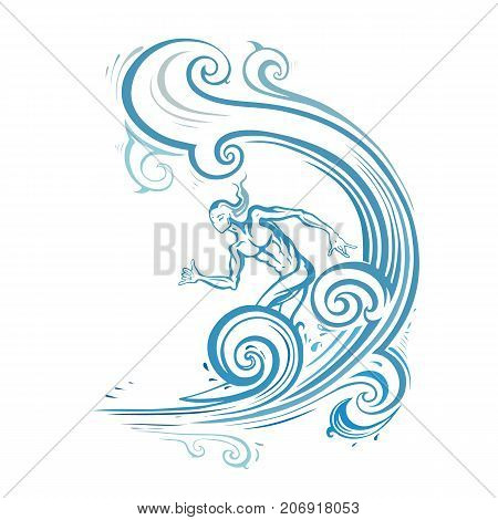 Surfer man on the wave. Prints for T-shirts. Vector hand drawn illustration.