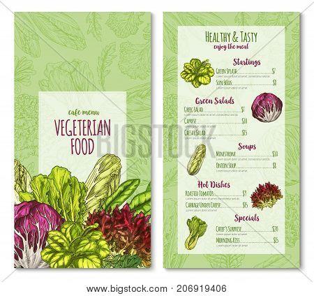 Salads and lettuce vegetables menu template for vegetarian cafe or restaurant. Vector price sketch design of chicory, radiccio or sorrel and pak choi, farm arugula or cabbage and oakleaf lettuce