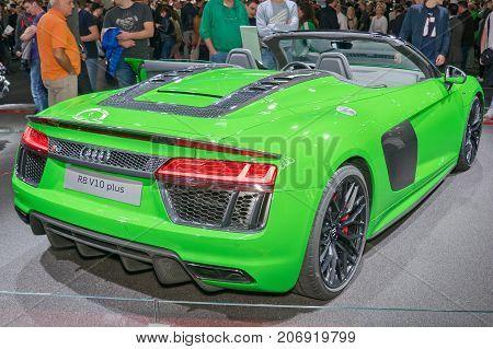 Frankfurt-September 20: Audi R8 V10 plus at the Frankfurt International Motor Show on September 20 2017 in Frankfurt