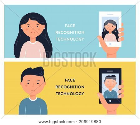 People Faces and Smartphone Screens. Face Recognition Technology Vector Illustation.