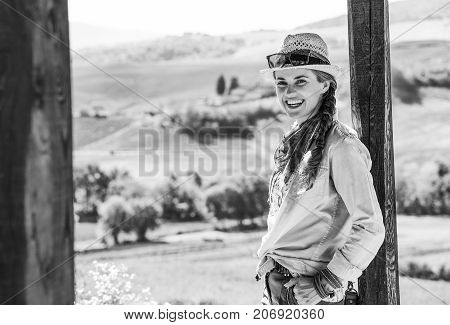 Smiling Adventure Woman Hiker In Hat Hiking In Tuscany