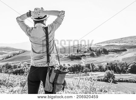 Relaxed Adventure Woman Hiker Hiking In Tuscany