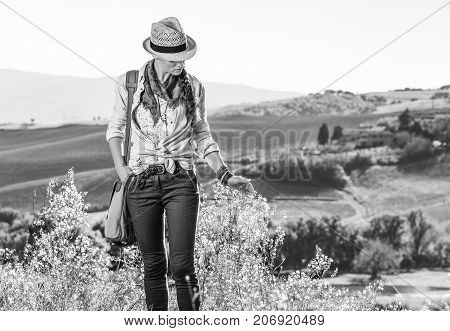 Active Woman Hiker With Bag Hiking In Tuscany