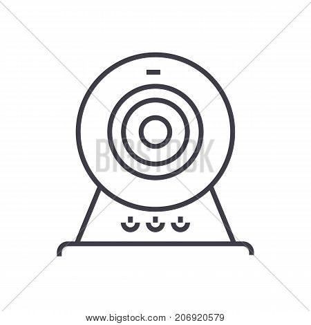 web cam, online camera vector line icon, sign, illustration on white background, editable strokes