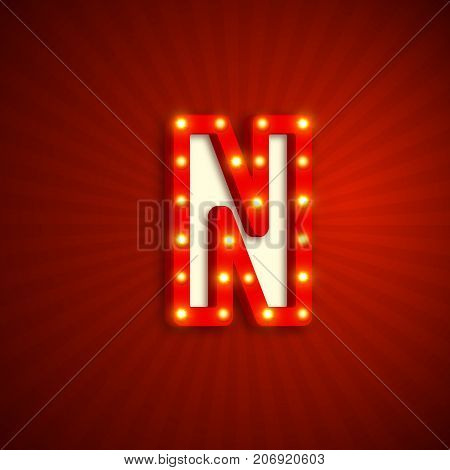 Retro style letter N with electric bulbs. Realistic 3d light sign, red background. Vector illustration.