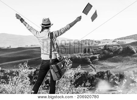 Young Woman Hiker On Tuscany Hike With Italian Flag Rejoicing