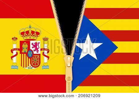 Spain and Catalonia referendum and independence concept. 3D rendering