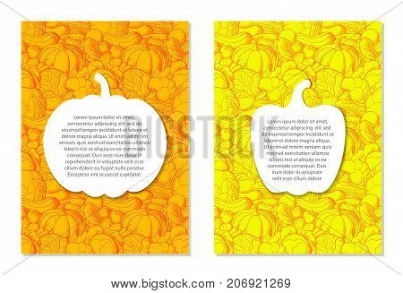 Card design templates on agricultural theme. Yellow and orange brochures with images of pumpkin and pepper