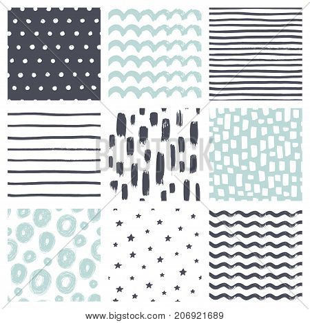 Seamless patterns with hand drawn scribble and spot. Abstract background with brush strokes. Vector set of hand drawn texture.