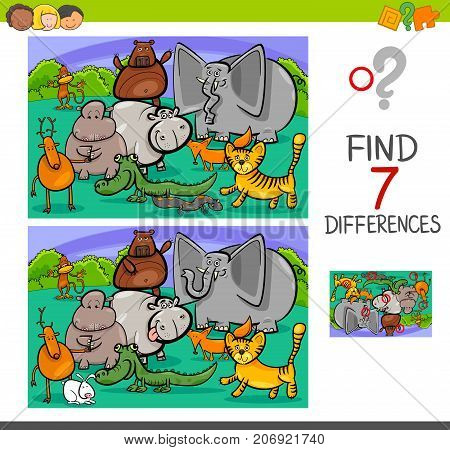 Search Differences Game With Animals