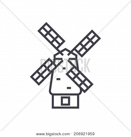 windmill vector line icon, sign, illustration on white background, editable strokes