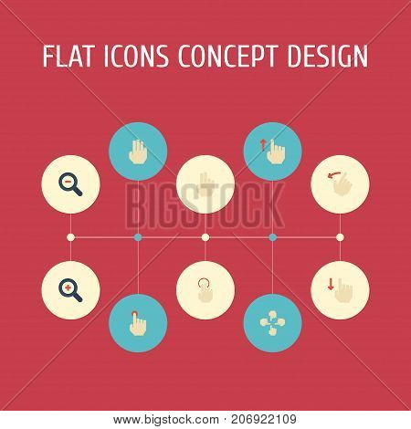 Flat Icons Rearward, Sensory, Single Tap And Other Vector Elements