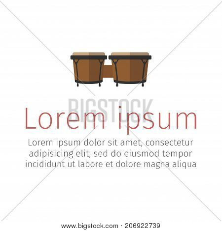 Bongos musical instrument, flat icon. Vector signs for web graphics.