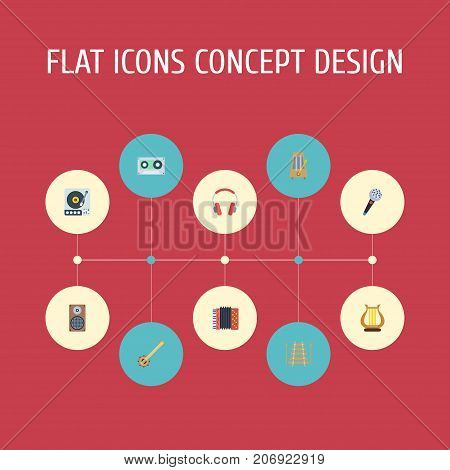 Flat Icons Lyre, Turntable, Audio Box And Other Vector Elements
