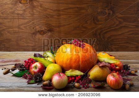 Thanksgiving Table Centerpiece With Pumpkin, Apples, Pears, Copy Space.