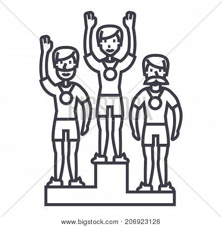 winner podium, sport team, first place, olympics vector line icon, sign, illustration on white background, editable strokes