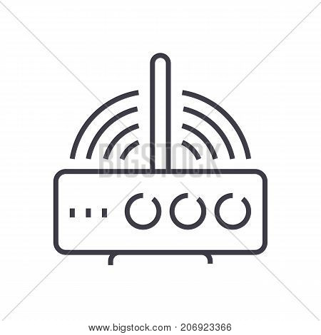 wireless router  vector line icon, sign, illustration on white background, editable strokes