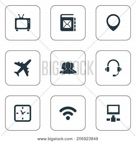 Elements Position, Watch, Aircraft And Other Synonyms Television, Timer And Unity.  Vector Illustration Set Of Simple Network Icons.