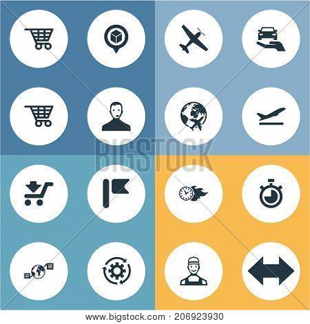 Elements Courier, Countdown, Pinpoint And Other Synonyms Measure, Bag And Car.  Vector Illustration Set Of Simple Systematization Icons.