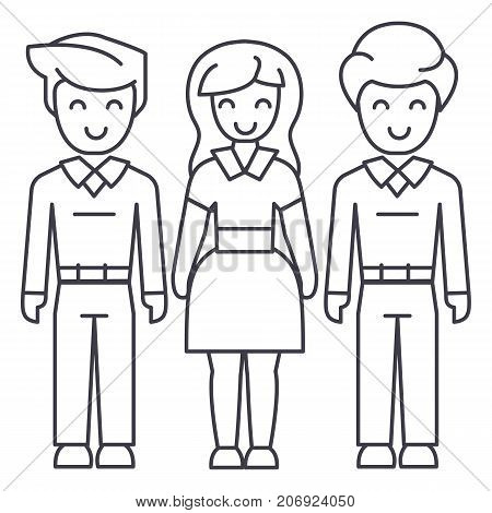 woman choice, friends, man relations vector line icon, sign, illustration on white background, editable strokes